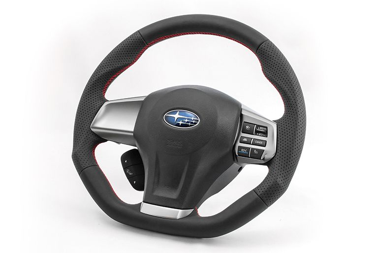 KENSTYLE Steering (All Black Leather - Red Stitch) - Subaru Legacy B4 / Touring Wagon BM9/BR9 (EJ255(T))